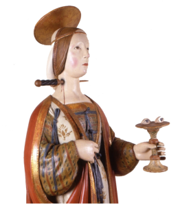 Santa Lucia, as depicted in a Renaissance statue.... Ouch.....!